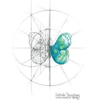 Nathalie Strassburg Original Intuitive Geometry Butterfly Art