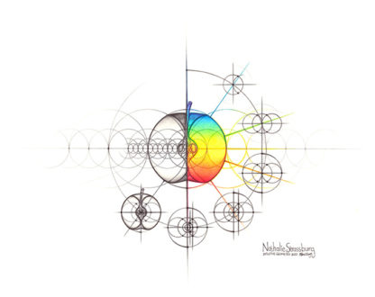 Nathalie Strassburg Original Intuitive Geometry Apple Art