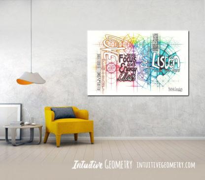 Nathalie Strassburg Original Intuitive Geometry Inspirational Art - Listen Love Aspire Focus Dream Patience - Art prints