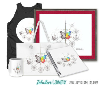 Nathalie Strassburg Original Intuitive Geometry Butterfly with steps Art Prints and Products