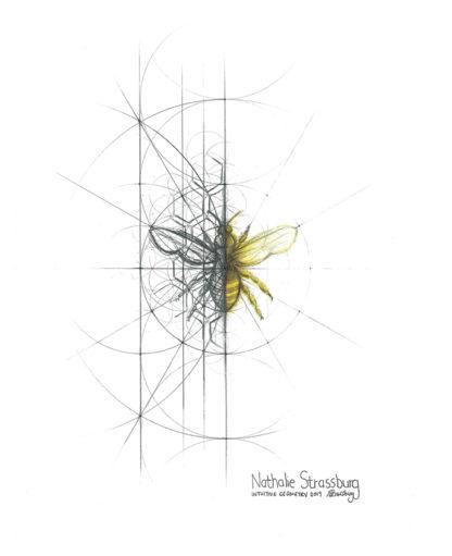 Nathalie Strassburg Original Intuitive Geometry Bee Art