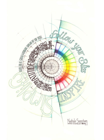 Nathalie Strassburg Original Intuitive Geometry Inspirational Art - Follow your bliss