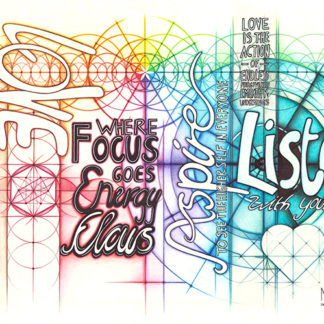 Nathalie Strassburg Original Intuitive Geometry Inspirational Art - Listen Love Aspire Focus Dream Patience