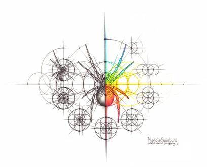 Nathalie Strassburg Original Intuitive Geometry Spider with steps Art